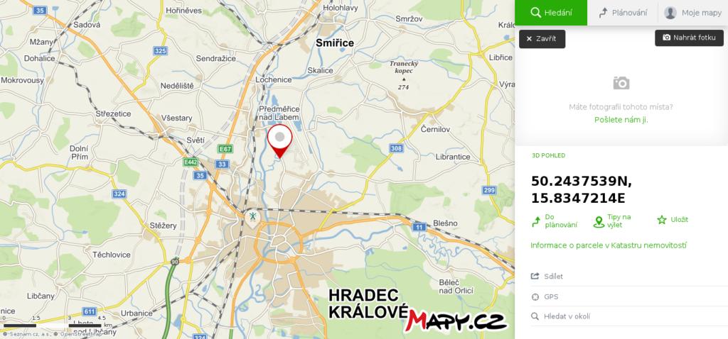 Mapa škola smyku Hradec Králové