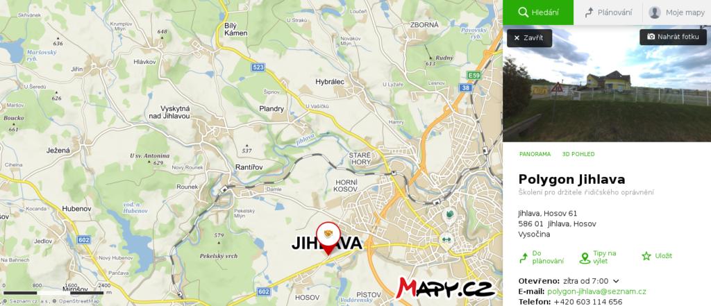 Mapa školy smyku Jihlava