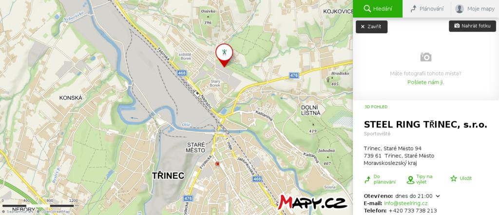 Mapa školy smyku Třinec
